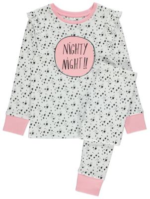 White Star Print Slogan Pyjamas