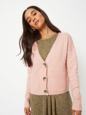 Pink V-Neck Cropped Pocket Cardigan
