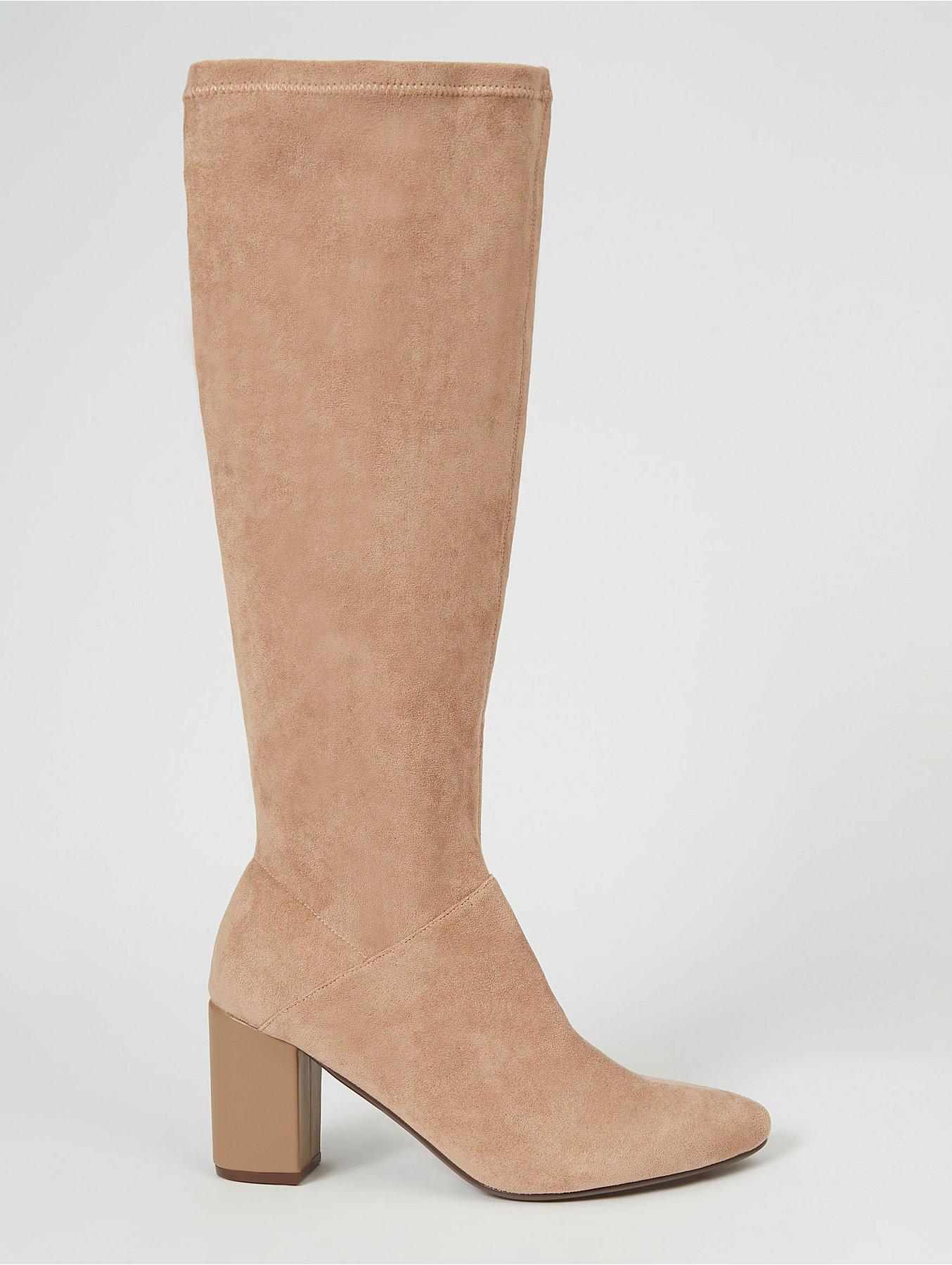 Beige Suede Effect Mid Heel Knee High Boots