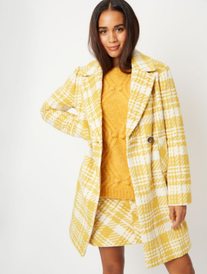 Yellow Check Double Breasted Collared Coat
