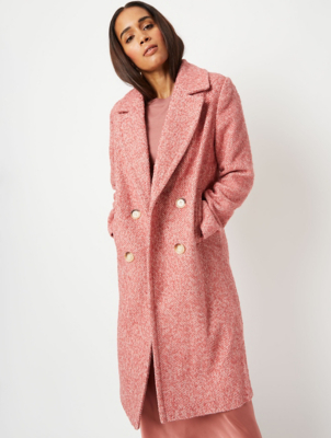 Pink Herringbone Double Breasted Oversized Coat