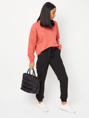 Black Crepe Utility Trousers