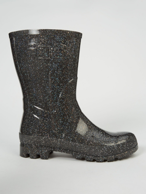 Black Glitter Wellington Boots