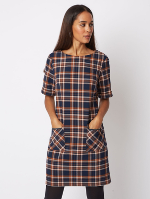 Navy Tartan Check Mini Dress