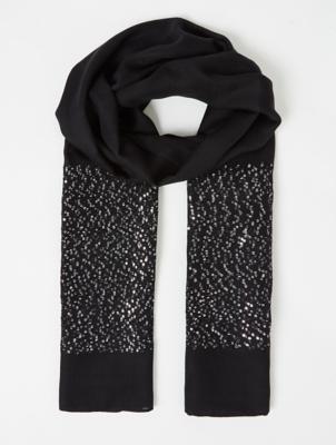 Black Sequin Embellished Scarf
