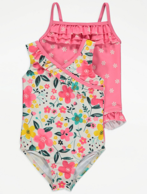 Pink Floral Swimsuits 2 Pack