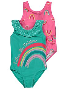 NEW Toddler Girls Swimsuit 2T Pink Butterfly Bathing Suit Tutu Hearts One Piece