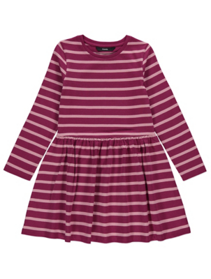 Burgundy Striped Jersey Dress
