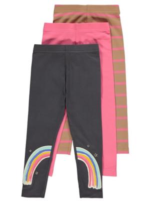 Rainbow Appliqué Leggings 3 Pack