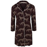 Purple Leopard Pattern Collared Nightdress by Asda