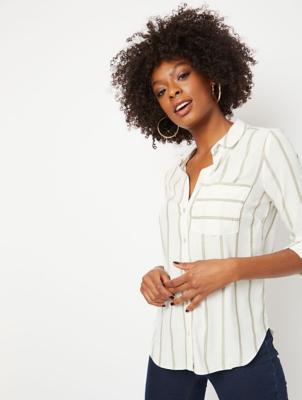 White Shimmering Stripe Shirt