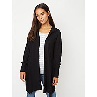 Black Soft Touch Hooded Ribbed Waterfall Cardigan by Asda