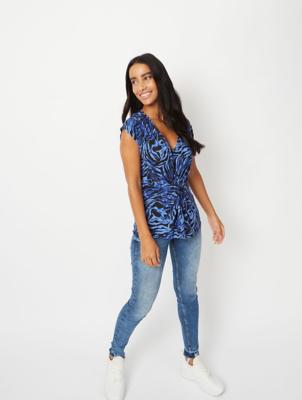 Blue Animal Print Twist Front T-Shirt
