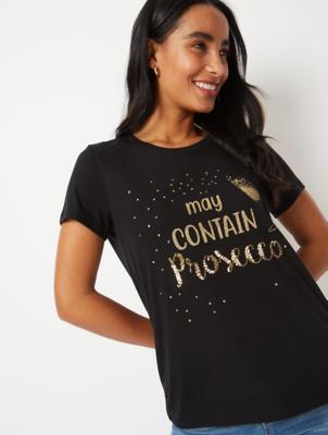 Black Prosecco Glitter Slogan T-Shirt