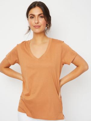 Brown V-Neck Jersey T-Shirt