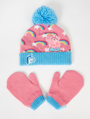 Peppa Pig Rainbow Bobble Hat and Mittens Set