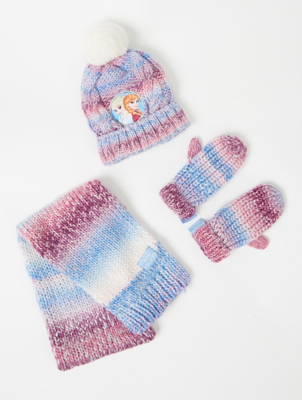 Disney Frozen Anna and Elsa Hat Scarf and Mittens Set