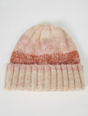 Peach Tonal Stripe Beanie Hat