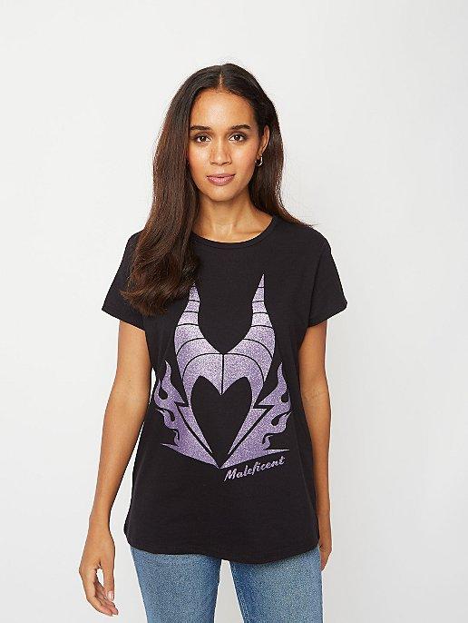 Disney Maleficent Purple Glitter Logo T Shirt