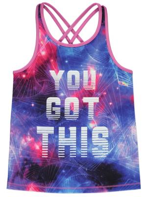 Purple Galaxy Print Slogan Sports Vest Top
