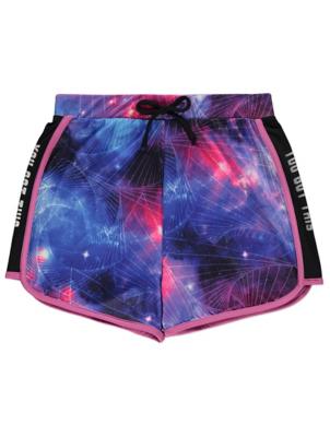 Purple Galaxy Print Racer Shorts