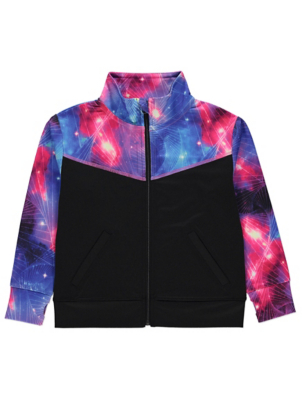 Black Galaxy Print Sports Jacket