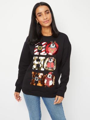 Black Penguin Sequin Slogan Christmas Sweatshirt