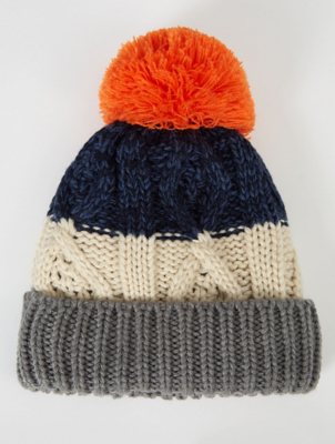 Orange Striped Fleece Lined Bobble Hat