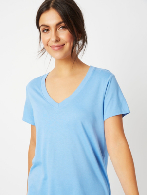 Blue V-Neck Jersey T-Shirt