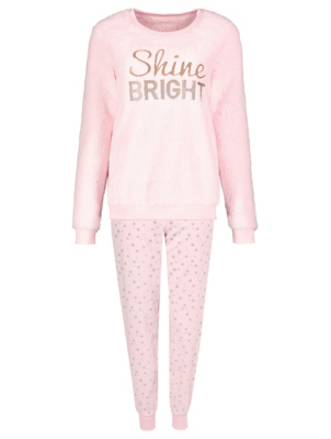 Pink Fleece Shine Slogan Pyjamas