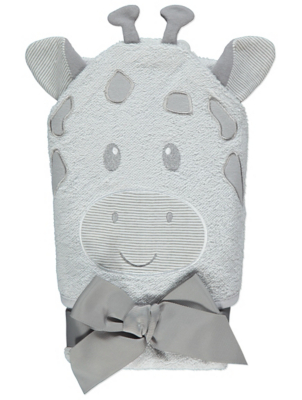 Grey Giraffe Hooded Towel