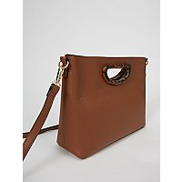 Tan Brown Resin Handle Mini Tote Bag by Asda