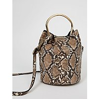 Beige Snake Print Mini Bucket Bag by Asda