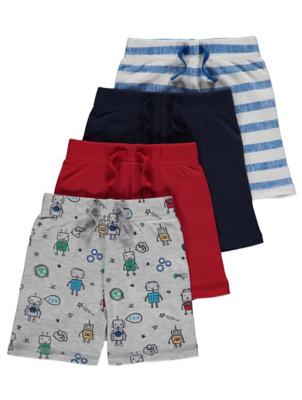 Robot Print Jersey Shorts 4 Pack