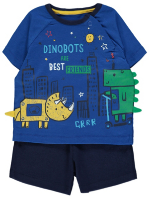 Blue Dinosaur Robots Slogan T-Shirt and Shorts Outfit