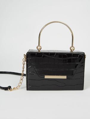 Black Mock Croc Patent Box Bag