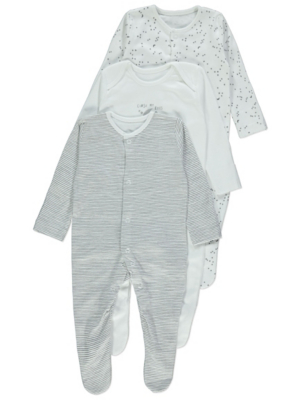 White Slogan Sleepsuits 3 Pack