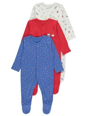 Space Print Long Sleeve Sleepsuits 3 Pack