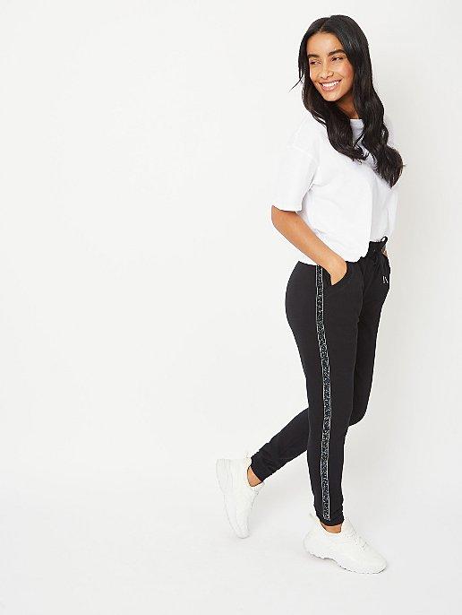 Black Embellished Side Stripe Joggers