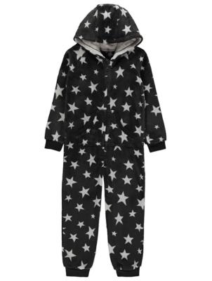 Dark Grey Star Print Fleece Hooded Onesie