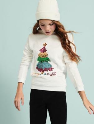 White Faux Fur Sequin Tree Slogan Christmas Jumper