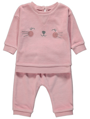 Pink Cat Face Fleece Top and Bottoms Outfit