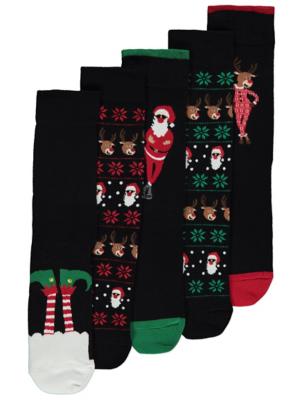 Black Fair Isle Santa Feel Fresh Christmas Socks 5 Pack