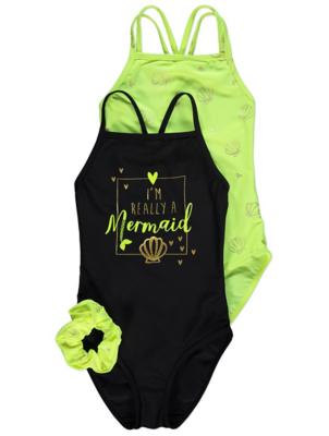 Neon Yellow Mermaid Slogan Swimsuits and Scrunchie 2 Pack