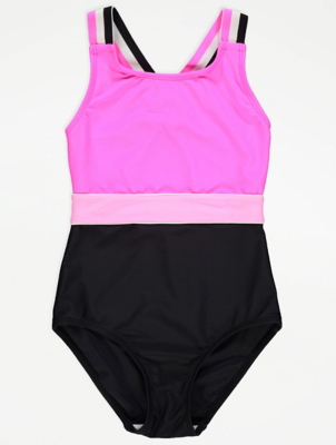 Neon Pink Tape Strap Swimsuit