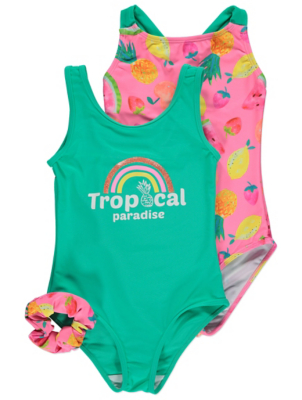 Pink Tropical Fruit Print Swimsuits and Hair Accessory 2 Pack