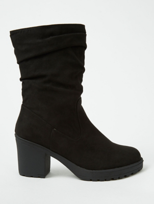 Black Suede Effect Ruched Midi Boots