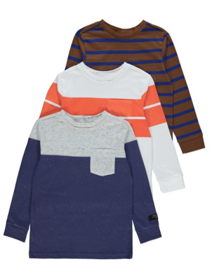 Striped Long Sleeve Pocket Tops 3 Pack