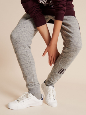 Grey Marl Skinny Unstoppable Slogan Jogging Bottoms