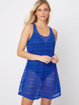 Blue Crochet Beach Cover Up Dress
